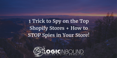 "Image of text ""1 Trick to Spy on the Top Shopify Stores + How to STOP Spies in Your Store!"" superimposed on a photo of dusk"