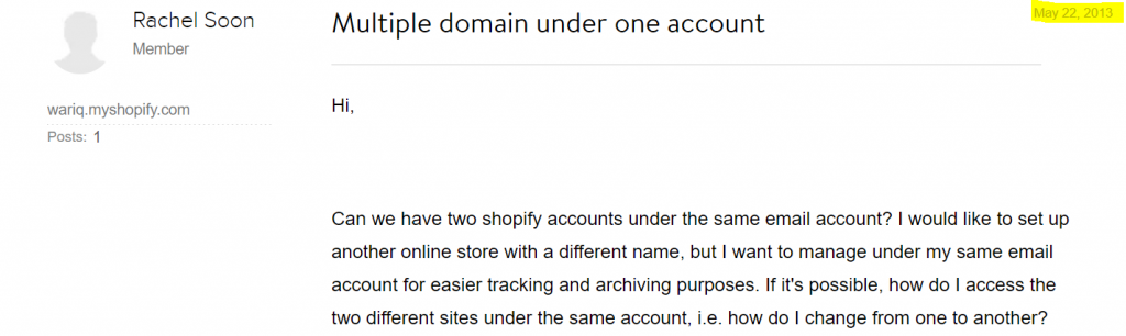 Multiple Domain Request from 2013 for Shopify
