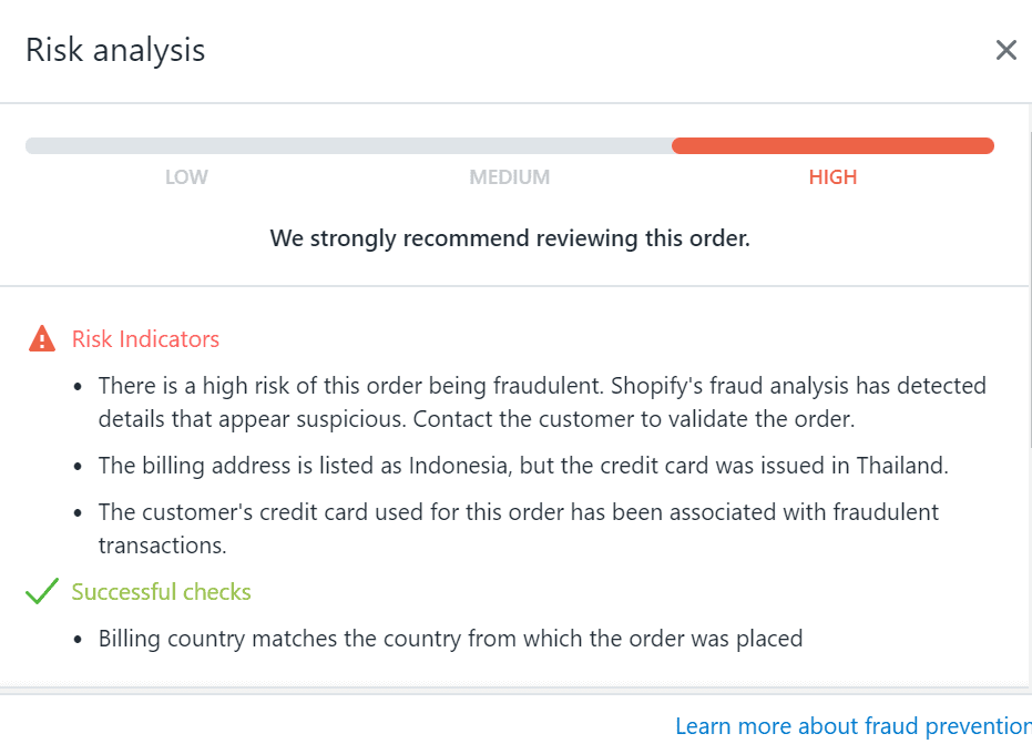 High Risk Analysis in Shopify