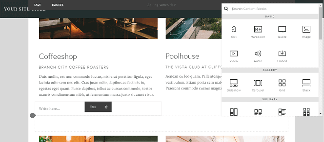 Squarespace Builder Interface