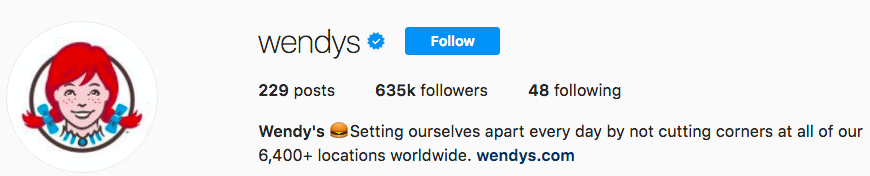 Wendy's is Instagram Verified