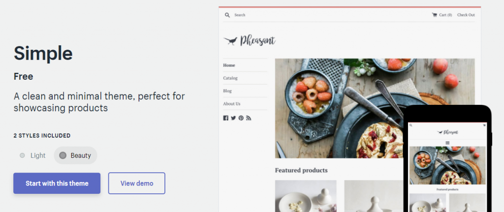 Shopify's free'Simple' template in its'Beauty' variation