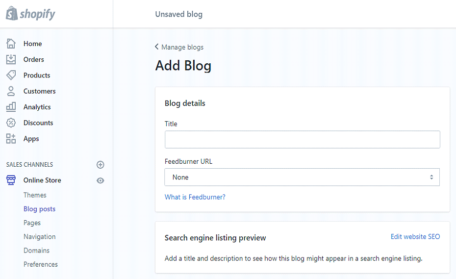 shopify blogging
