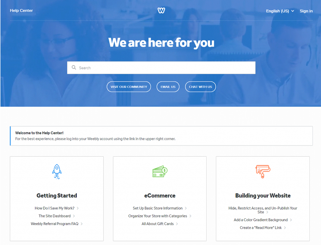 Weebly Customer Support