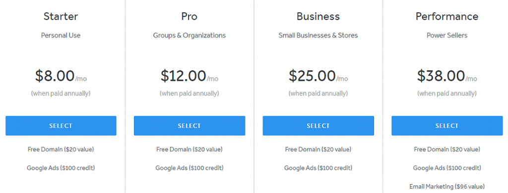 weebly pricing