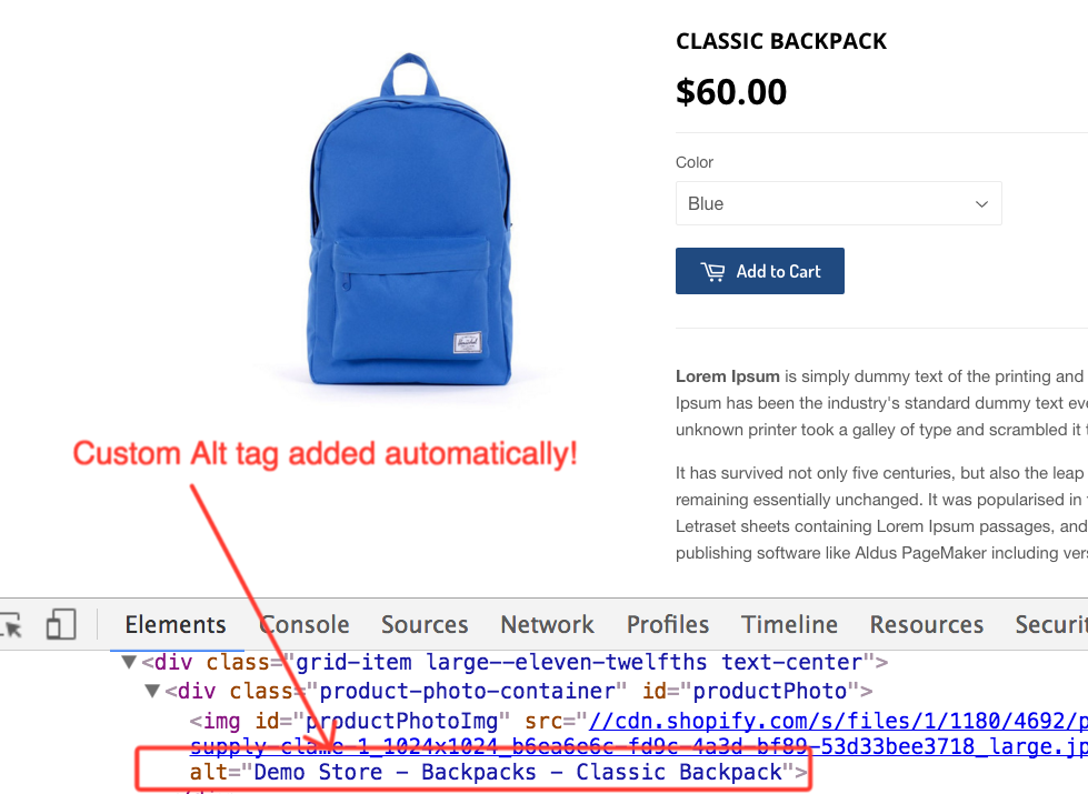 classic backpack shopify app