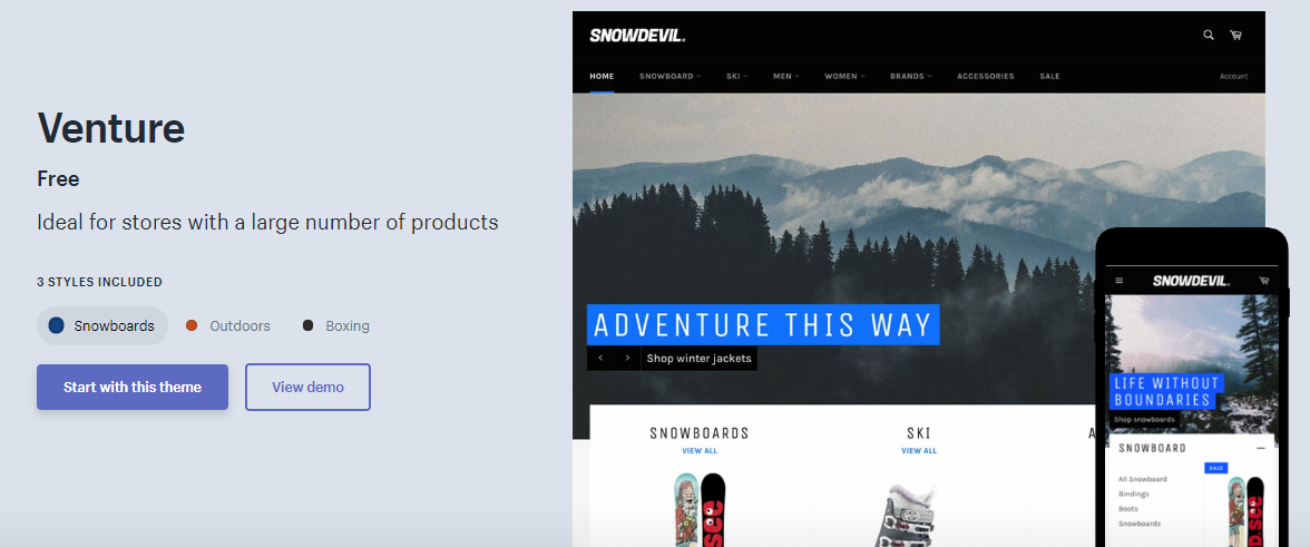 shopify themes venture