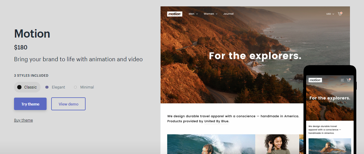 shopify themes motion
