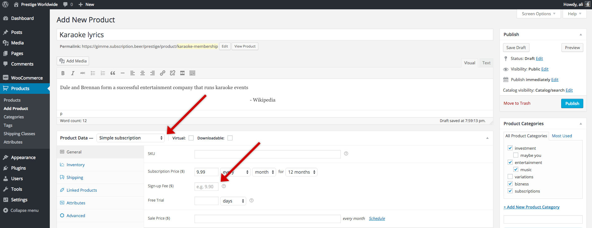 woocommerce subscriptions add product