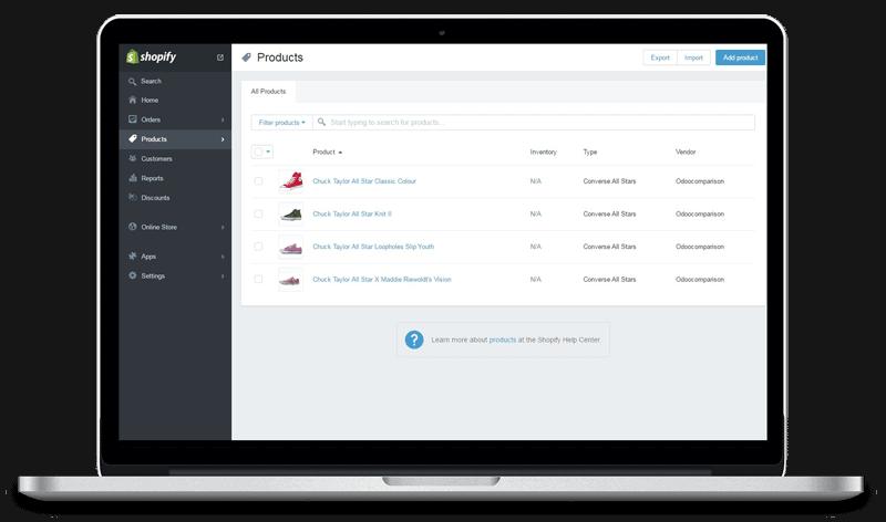 shopify user interface