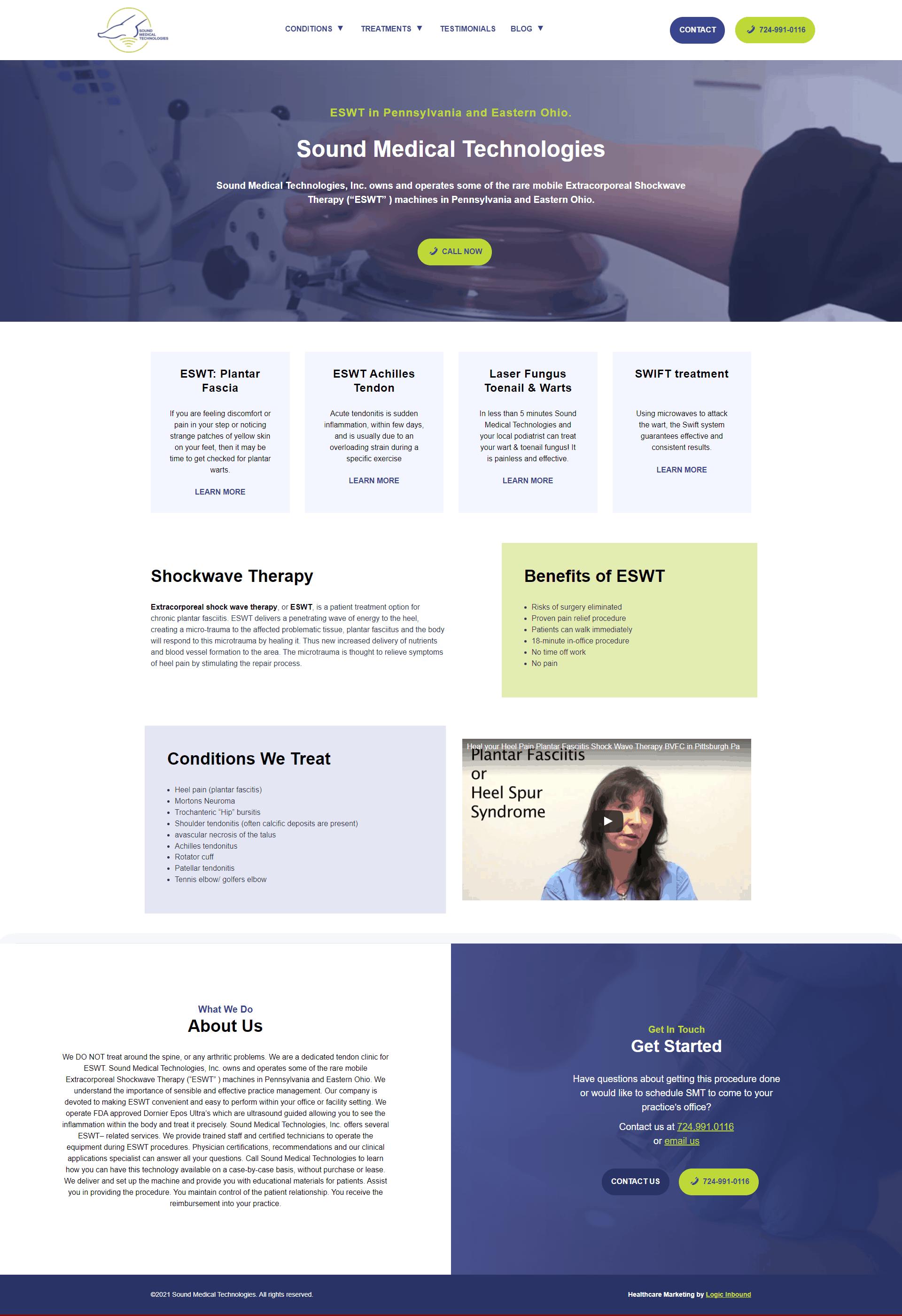 Screenshot of the new Sound Med Tech Website