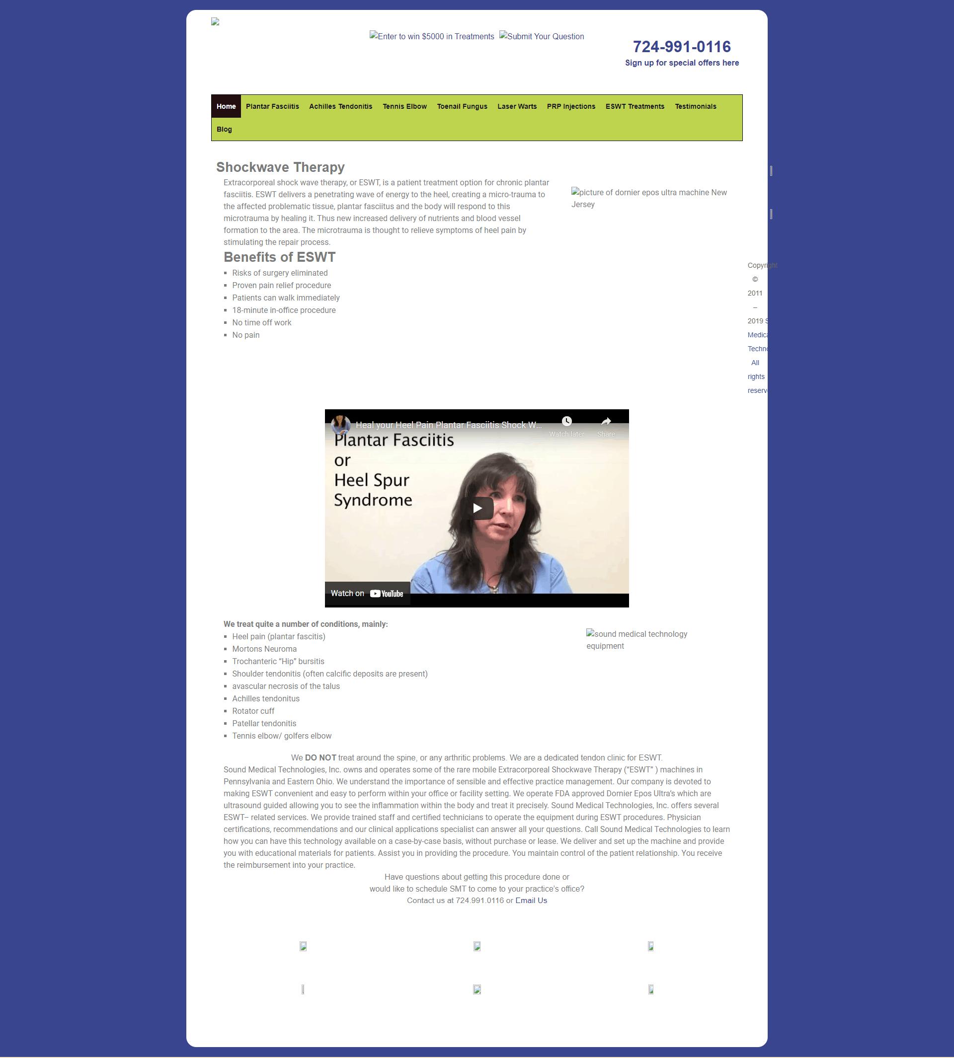 Screenshot of the old Sound Med Tech website