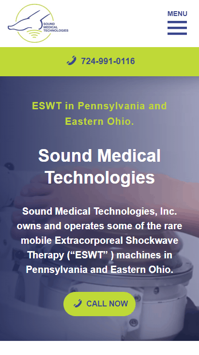 Mobile screenshot of the Sound Med Tech website