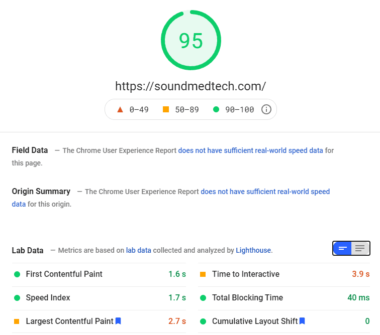 Screenshot showing the PageSpeed results of the new Sound Med Tech Website